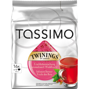 Capsule Jacobs Tassimo Twinings Berry, Ceai cu aroma de fructe de padure, 16 Capsule, 45 g
