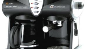 Espressor combi Studio Casa Delicia Combi, Dispozitiv spumare, Sistem Cappuccino, 15 Bar Negru