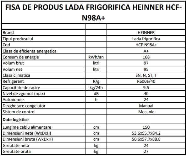 Heinner HCF-N98A+ fisa produsului